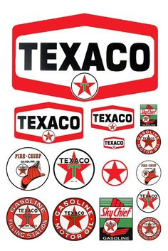 This is a sheet of Texaco Gas Station signs for and scale models and G scale dioramas. This sheet is printed on photo paper using photo dyes for durability. This sheet includes 18 signs. Vintage Labels, Vintage Ads, Vintage Signs, Vintage Luggage, Template Free, Logo Template, Scale Models, Station Essence, Pompe A Essence