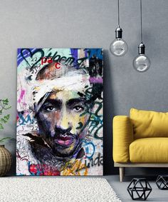 tableau-deco-tupac-shakur-2pac-street-art-4 Tupac Shakur, 2pac, Tableau Pop Art, Street Art, Portrait, Decoration, Hip Hop, Painting, Rapper