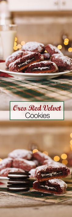 These lovely red cookies make a decadent holiday treat for Santa!  VEGAN Red Velvet christmas cookies
