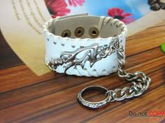 Adjustable White Leather Bracelet  Ring Chain by sevenvsxiao, $13.50