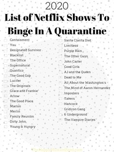 stay home quarantine List of Netflix Shows To Binge In A Quarantine 2020 - The Happy Mustard Seed Series Netflix Lista, Netflix Shows To Watch, Netflix Hacks, Good Movies On Netflix, Movie To Watch List, Tv Series To Watch, Good Movies To Watch, List Of Movies, Disney Films List Of