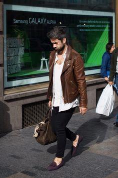 Brown tassel loafers, black jeans, white v neck t shirt, open shirt, brown leather biker asymmetrical jacket, duffel bag, weekend