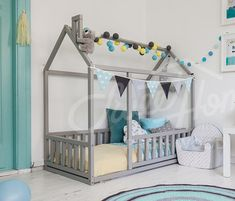 Bed house is an amazing frame bed for sleep and play like in play tent. This adorable floor bed will make transitioning from a nursery crib to a toddler bed smoothly. Home bed is designed following Montessori toy principles of independence – building, it saves you a lot of space in