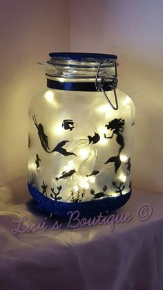 Night light, mood lighting, mermaid in a jar, fairy lights, large jars perfect…