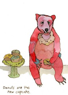 bears eating donuts. does it get any cuter?
