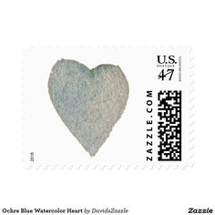 Ochre Blue Watercolor Heart Stamp  Available in three sizes and three rates!  #stamp #postage #post #mail #letter #united #states #postal #service #friend #family #mailing #send #sent #service #greeting #card #heart #love #emotion #relationship #feeling #friendship #friend #family #meaning #meaningful #water #color #watercolor #cute #pretty