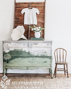 painted dresser sheep pastoral scene | Rosemary and Thyme on Instagram for Miss Mustard Seed