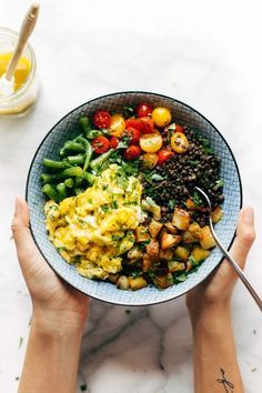 Sunshine Lentil Bowls - with garden produce like green beans, tomatoes, herbs, roasted potatoes, lentils, goat cheese, and soft scrambled eggs. Topped with garlic olive oil dressing!