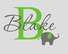 Children Name Elephant Wall Decal - Personalized Boys Girls Name Vinyl Wall Stickers