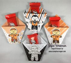 Cute little treat bags using only paper, no adhesives!!!! Used Cookie Cutter Halloween and Halloween Night Speciality DSP from Stampin' Up!