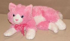 "14"" Animal Alley Toys R Us Pink White Kitty Cat Plush Stuffed Polka Dot Bow Toy #AnimalAlley"