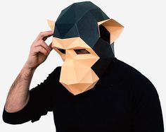 Monkey Mask, DIY printable Animal Head, Instant Pdf download, DIY Halloween Paper Mask, Printable Chimpanzee Mask, 3D Pattern, Polygon Masks