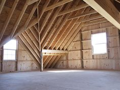 pole buildings with lofts | Shown roof construction with rafters, full loft and dormer. Roof has ...