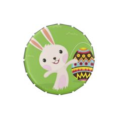 Easter bunny playful with painted eggs jelly belly tin