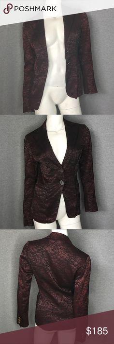 PACO RABANNE Line Detail Blazer Size: 2 PACO RABANNE Line Detail Blazer Size: 2.  This blazer is maroon and black! Paco Rabanne Jackets & Coats Blazers