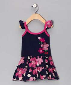 Take a look at this Navy Cherry Blossom Dress - Infant & Toddler by Lazoo on #zulily today!