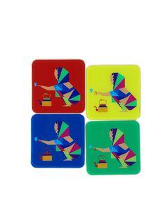 Rebari Acrylic Coasters - Set of 4 x Diy And Crafts, Arts And Crafts, Paper Crafts, India Decor, Tea Coaster, Madhubani Painting, Folk Art, Print Patterns, Pop