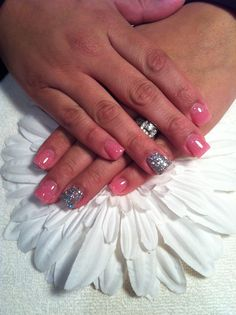 Short pink & silver acrylic nails