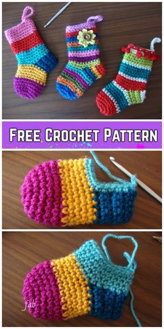 Crochet Christmas Socks Free Crochet Patterns - Video - Crochet - Diy and crafts interests Crochet Baby Socks, Crochet Diy, Crochet Slippers, Crochet Gifts, Crochet For Kids, Booties Crochet, Crochet Clothes, Knitted Baby, Crochet Cardigan