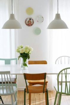 Different chairs at dinning table