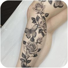 Tattoo, get a tattoo, leg tattoos, body art tattoos, leg sleeve tat Full Leg Tattoos, Girl Neck Tattoos, Leg Tattoos Women, Upper Arm Tattoos, Sexy Tattoos, Body Art Tattoos, Cool Tattoos, Tatoos, Carnation Tattoo