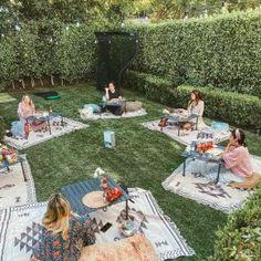 Backyard Movie Nights, Outdoor Movie Nights, Backyard Movie Party, Outdoor Movie Party, Backyard Party Decorations, Outdoor Party Decor, Outdoor Events, Beach Blanket Bingo, Picnic Blanket