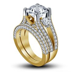 3 Ct Round Simulated Diamond Solid Gold Fn in 925 Silver Bridal Engagement Ring  #AoneBianco #SolitaireWithAccent