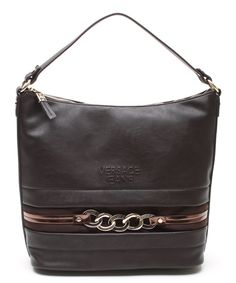 Versace Jeans Collection Burnt Brown Link Leather Hobo