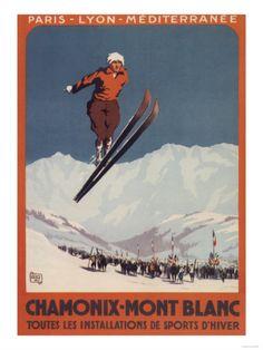 Chamonix - Mont Blanc Vintage Poster (artist: Alo) France c. Poster S, Poster Prints, Art Prints, Pub Vintage, Vintage Sport, Vintage Winter, Vintage Ski Posters, Vintage Prints, Chamonix Mont Blanc