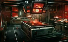 Deus Ex: Human Revolution concept art by Eric Gagnon Spaceship Interior, Futuristic Interior, Wallpaper 3840x2160, Deus Ex Human, Science Fiction, Blade Runner, Sci Fi Environment, Environment Design, Sci Fi Fantasy