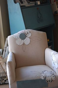cute solution for a chair with a few holes or stains