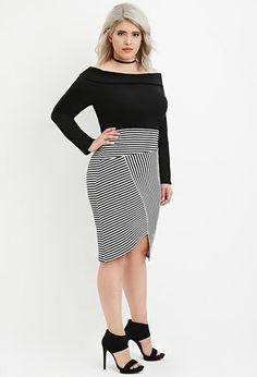 Plus Size Origami-Hem Striped Skirt | Forever 21 PLUS - 2000163610