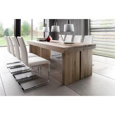 Dublin 8 Seater Dining Table In Brown Solid Oak With Lotte Chair