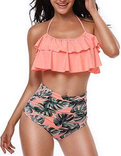 Sporzin High Waisted Bikini Set Retro Flounce Push Up Bikinis for Women Two Piece Swimsuit Bathing Suits Tankini Orange Halter Bikini, Push Up Bikini, Bikini Sets, Halter Neck, Bikini Top, Triangle Bikini, Flounce Bikini, Bikini Bottoms, Two Piece Swimsuits