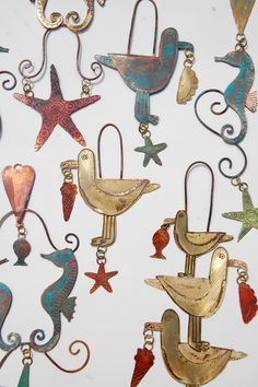 Seagulls & Seahorse small decorative hangings in copper & brass