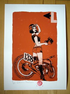 Girl Racer and Indian Scout Giclee 250x350mm signed by chriswatson, £25.00