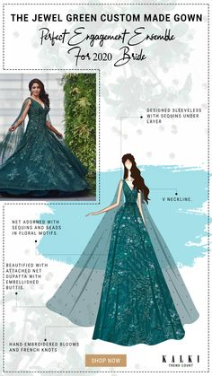 Neha Pendse In Kalki Bottle Green Gown With Attached Net Dupatta And Floral Embroidery Engagement Gowns, Neha Pendse, Green Gown, French Knots, Floral Motif, Floral Embroidery, Bridal Gowns, Ball Gowns, Flare