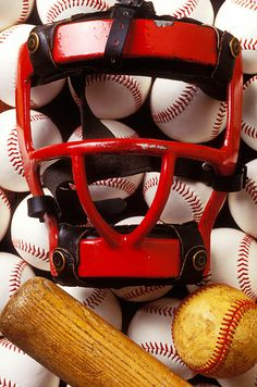 Baseball Catchers Mask And Balls by Garry Gay with Pin-It-Button on FineArtAmerica