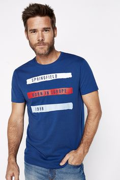Short-sleeved regular fit shirt with watercolour brush print. | T-SHIRTS | Springfield Man & Woman