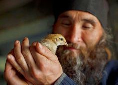 An Christian Orthodox monk with a bird! Bird People, Religion, Religious Images, Orthodox Christianity, We Are The World, Orthodox Icons, Cool Pictures, Saints, Blackbird