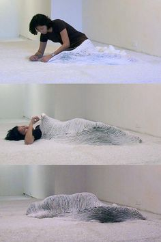 "Bea Camacho, Efface, 2008 – Single-channel video, 11 hours. This video documents an eleven-hour performance during which I crocheted myself into a white carpet with white yarn. This project builds on the themes explored in an earlier video performance, ""Enclose"", but puts more emphasis on the space around the body, which becomes an integral part of the work as my body slowly disappears into the architecture."