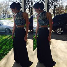 2015 New Long Black Beaded Two Piece Prom Ball Dresses Formal Evening Party Gown #Handmade #TwoPiece #Formal