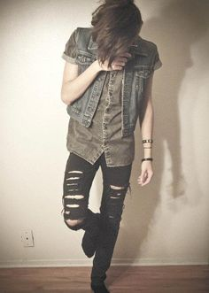 dark jeans + short button down + denim vest + boots, definitely how to layer denim, always have black jeans it seems (androgynous, tomboy, fashion)