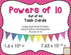 Multiplying by Powers of 10 Task Cards- Set of 20- by Hello Learning $