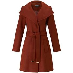 Rust Wrap Fit And Flare Coat (£79) ❤ liked on Polyvore featuring outerwear, coats, brown coat, miss selfridge coats, miss selfridge and wrap coat