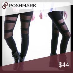Mesh Leggings Mesh insert cotton leggings. 95%Cotton 5% Lycra. Made in the USA. Pants Leggings