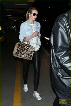 Rosie Huntington-Whiteley keeps it fierce with leather pants while arriving for a departing flight to London at LAX Airport on Sunday (April 14) in Los Angeles.…