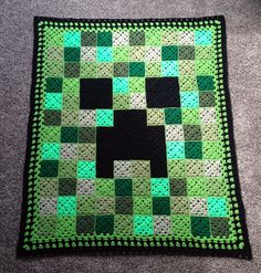 Crocheted Minecraft Creeper Afghan Blanket