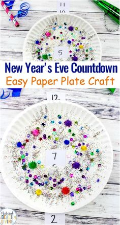 New Years Eve Countdown Paper Plate Craft for Kids, Paper Plate Craft, Countdown to New Years Paper Plate Craft for Children to Celebrate New Years. Homemade New Years s Eve Decorations and Crafts for Kids New Year's Eve Activities, Party Activities, New Year's Eve Crafts, Fall Crafts, New Year's Eve Countdown, New Year Art, Paper Plate Crafts For Kids, New Years Eve Decorations, New Year Celebration