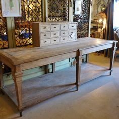 French Oak Drapers Table as island Antique Kitchen Island, Kitchen Islands, French Console Table, Console Tables, Dresser Shelves, English Country Style, French Country, Repurposed Furniture, Refinished Furniture